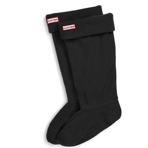 Hunter Boot Tall Fold Over Socks in Black Fleece